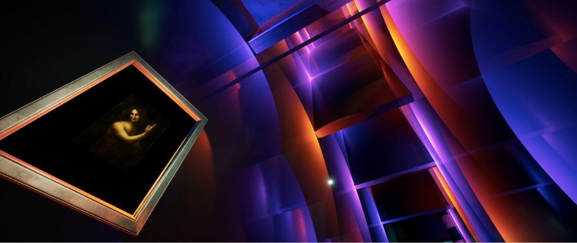 un musée virtuel avec un tableau