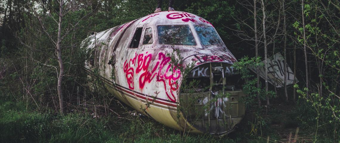 avion dans une forêt abandonnée