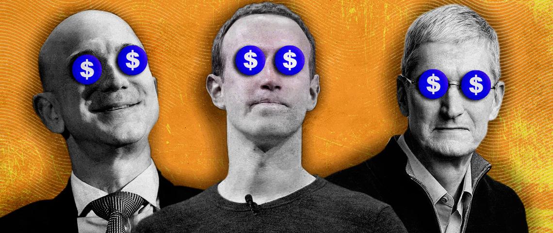 portraits de Jeff Bezos Mark Zuckerberg Tim Cook avec le symbôle dollars à la place des yeux