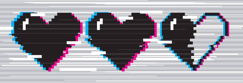Coeurs pixelisés brouillés