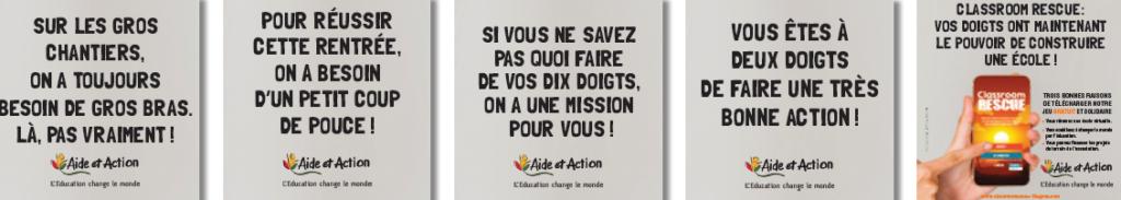 Capture d'écra nde la campagne de communication d'Aide et Action