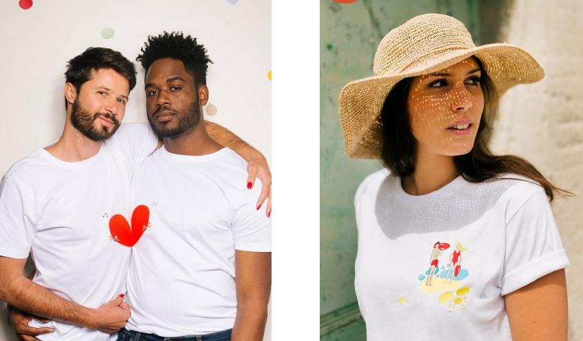 T-shirt brodés de la marque végane Lundi au Soleil