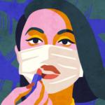Dessin d'une femme qui met du rouge à lèvres sur son masque
