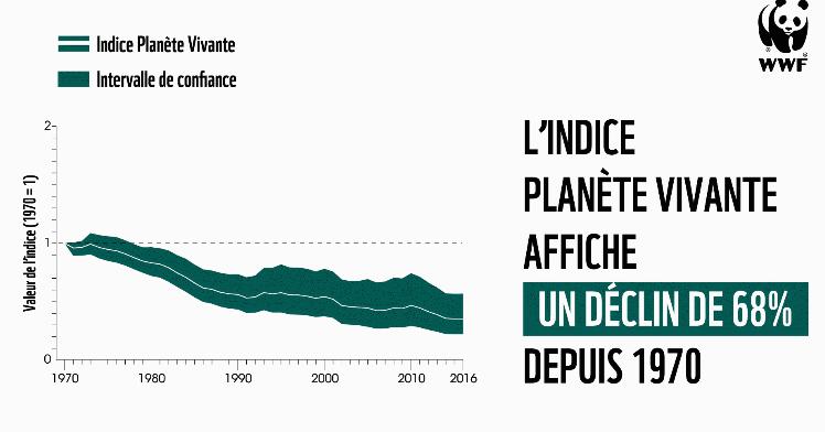 Graphiqu du rapport Plan^ète Vivante du WWF présentant la courbe de destruction de la nature
