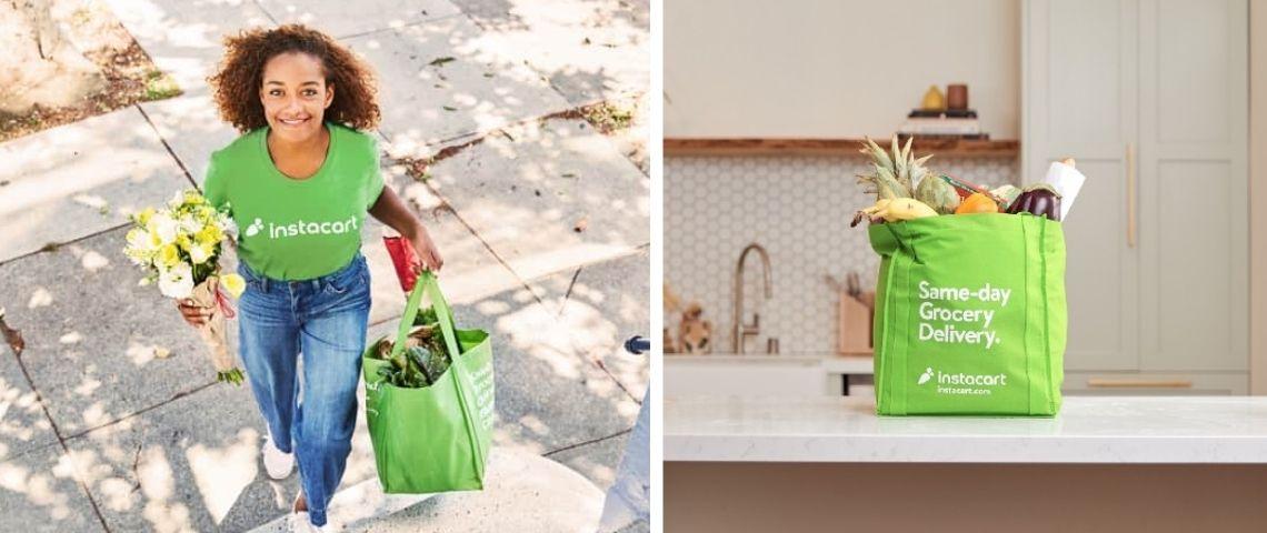 Jeune femme portant un T-shirt Instacart et livrant des produits dans une sac Instacart