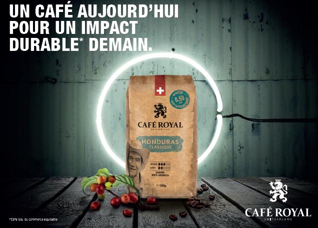 Visuel de la campagne d'affichage de Café Royal