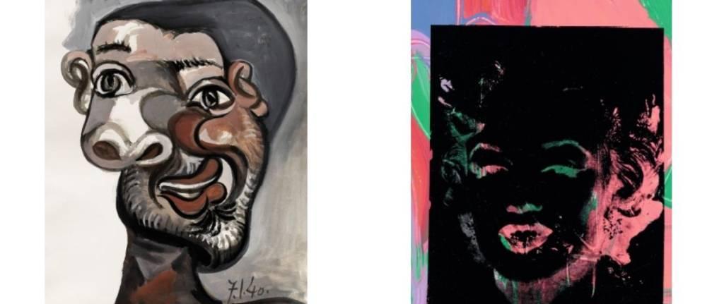 Tableau de Pablo Picasso : Tête d'Homme et de Andy Wharol : Marilyn