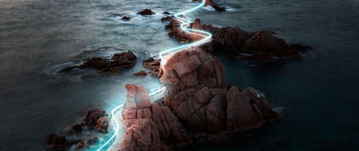 Route éclairée