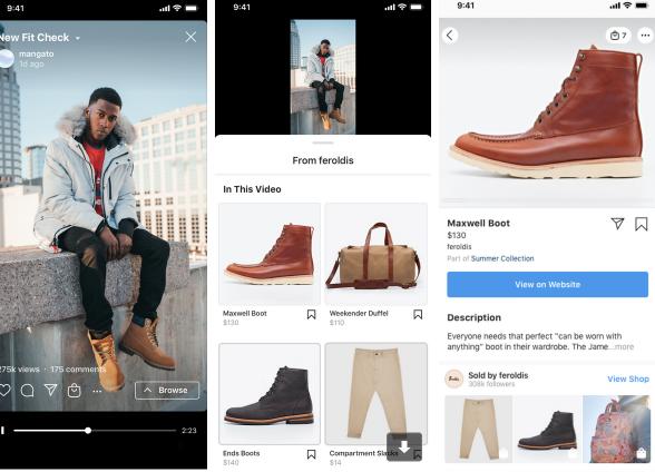 Nouvelle fonctionnalité shopping d'Instagram