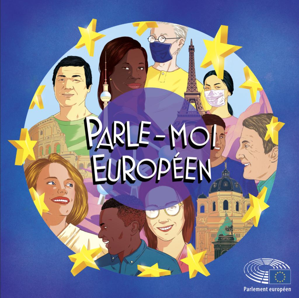 """Logo de la série de podcast """"Parle-moi Européen"""""""