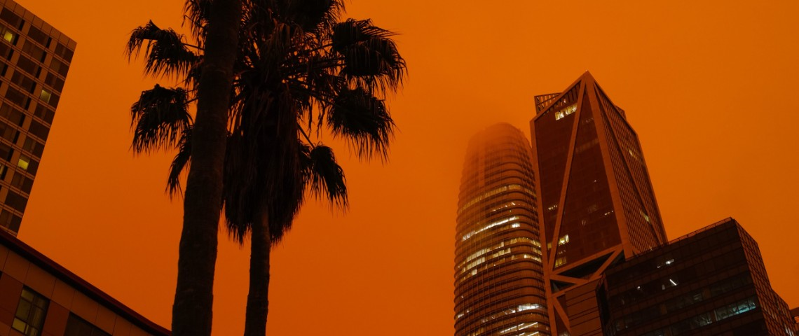 Ciel rouge à San Francisco suite aux feux de septembre
