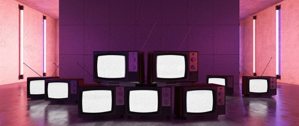 Un mur fait avec des télévisions