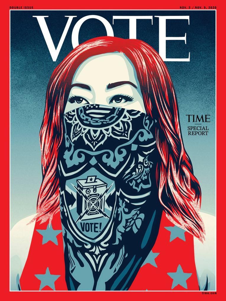 Une du time magazine réalisée par l'artiste Obey