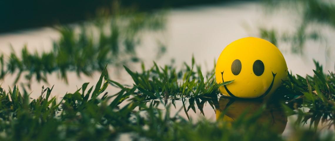 Une balle Smiley flotte dans une marre d'eau