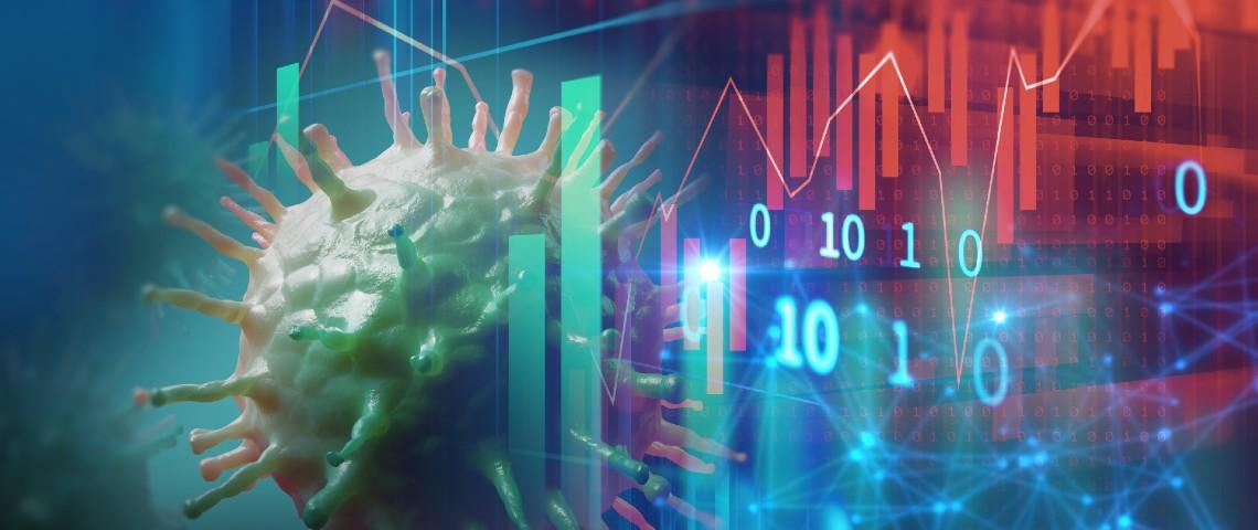 Image mêlant un coronavirus et des graphiques, courbes et chiffres