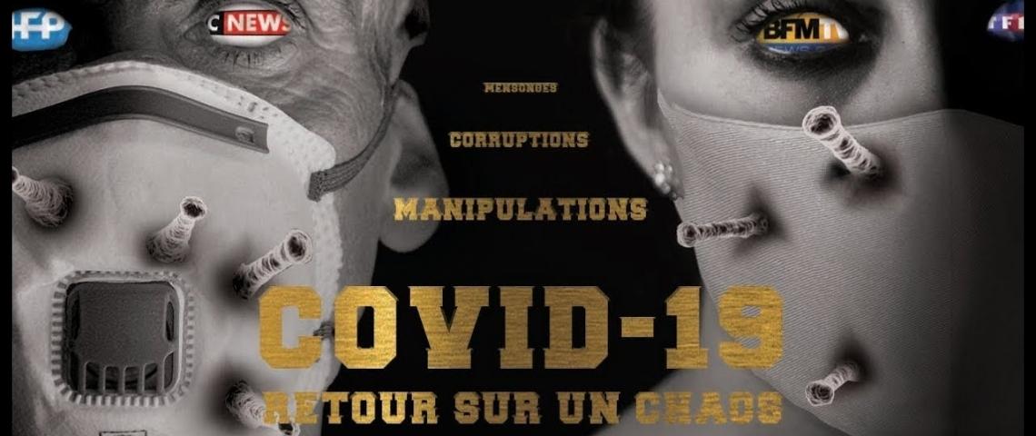 une homme et une femme masqué avec les logos de télévisions dans les yeux