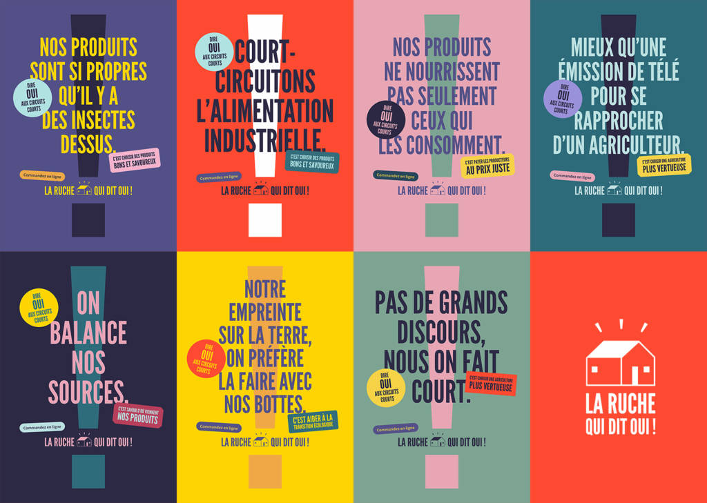 Affiches de la campagne de communication de la Ruche qui dit Oui