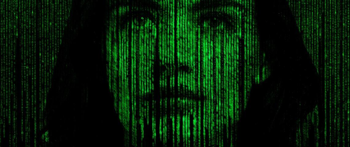 Image verte et pixelisée d'un visage de femme