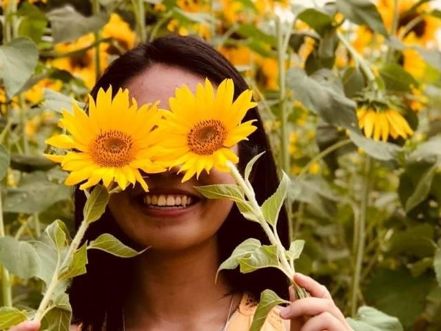 Une femme dans un champ de tournesols