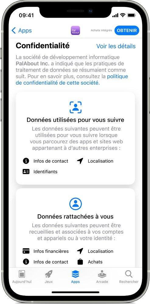 capture d'écran des informations transmises sur l'app store sur la collecte des données
