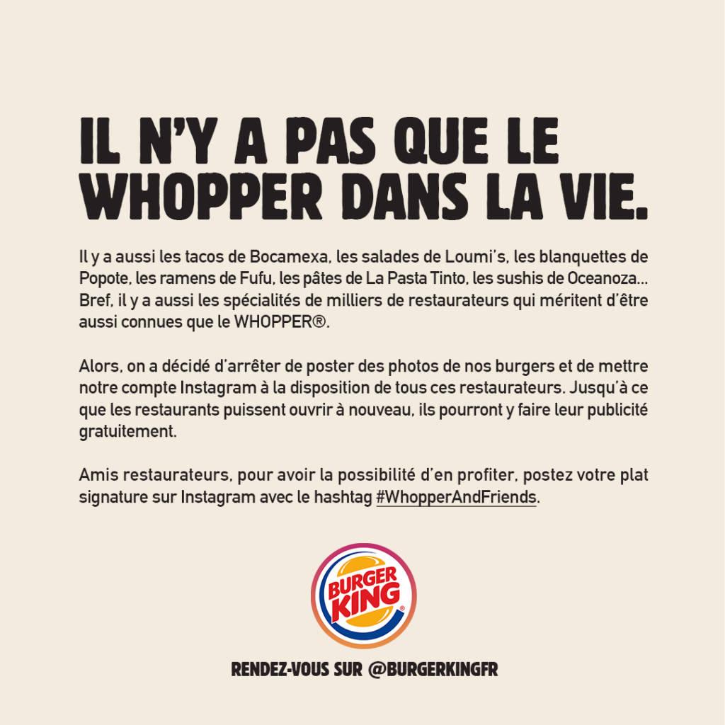 Manifeste de Burger King en solidarité avec les restaurareurs:  Il n'y a pas que le Whopper dans la vie