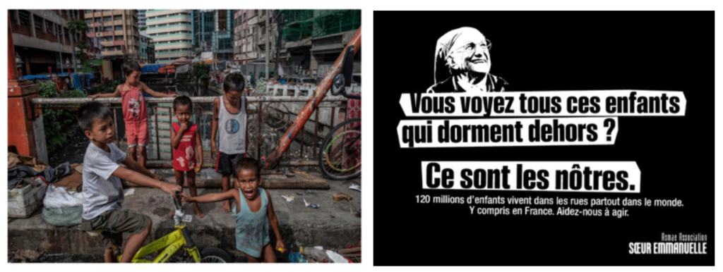 Visuels de la campagne d'Asmae avec Soeur Emmanuelle qui interpelle sur le phénomène des enfants dans les rues