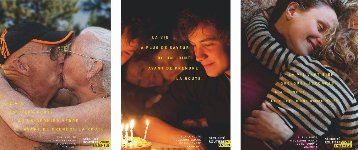 3 visuels : coupe s'embrassant / jeune homme soufflant ses bougies / Maman partgeant un calin avec son enfant
