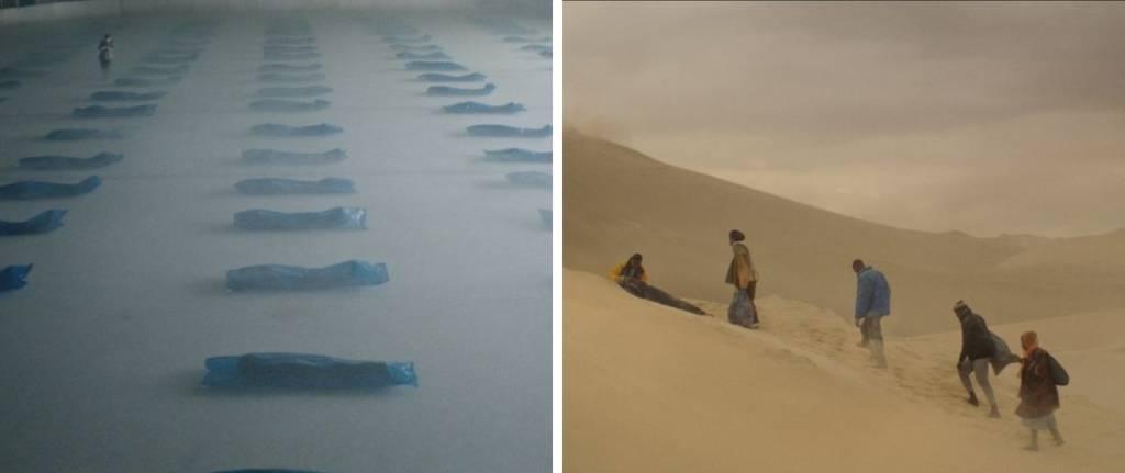 2 photos : personne mortes stockées dans des housses à l'intérieure d'une patinoire / Personne montant une dune dans le désert