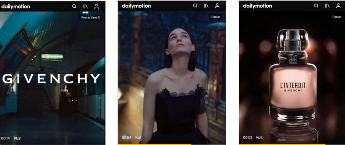 Campagne Givenchy couvrant tout l'écran d'un smartphone
