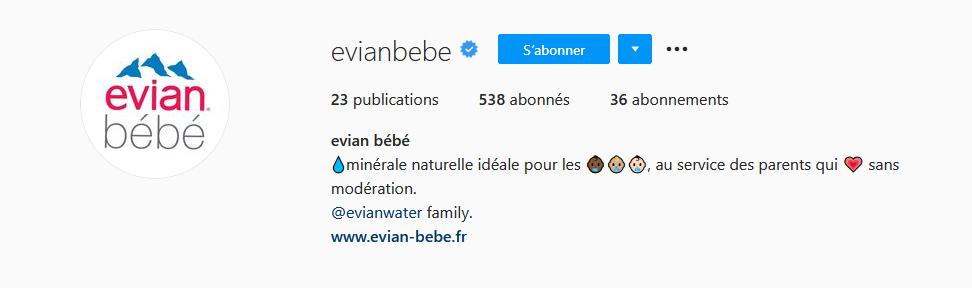 Compte instagram @evianbebe