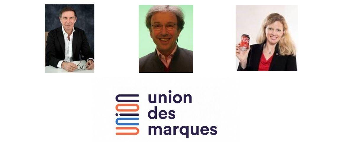 Herve Navellou, Bernard Canetti et Page Guillot avec le logo de l'Union des marques