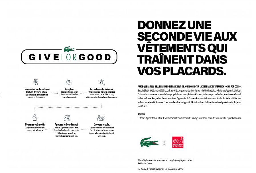Bon solidaire Give For Good Lacoste