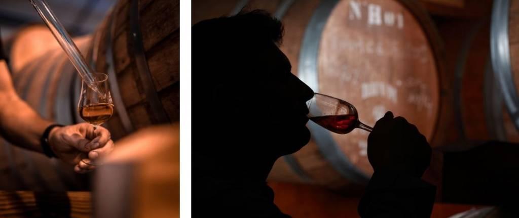 2 visuels : distillerie du Rhum et un homme buvant un verre de rhum