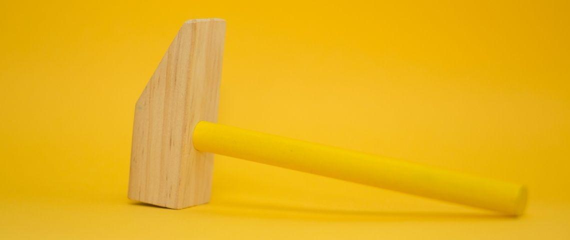 Marteau, outil, jaune, monochrome