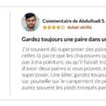 Commentaire d'un migrant sur Amazon concenrant la nécessité d'avoir 2 paires de chaussettes