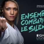 Femme judoka, le point en avant