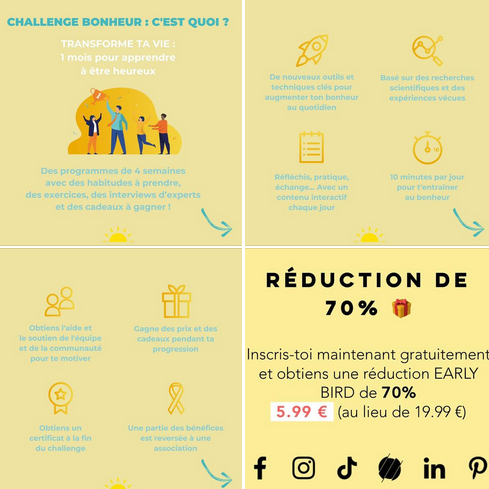Capture du compte facebook de la plateforme Challenge Bonheur