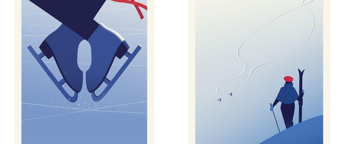 2 Illustrations : patin à glace et skieur contemplant la montagne de dos