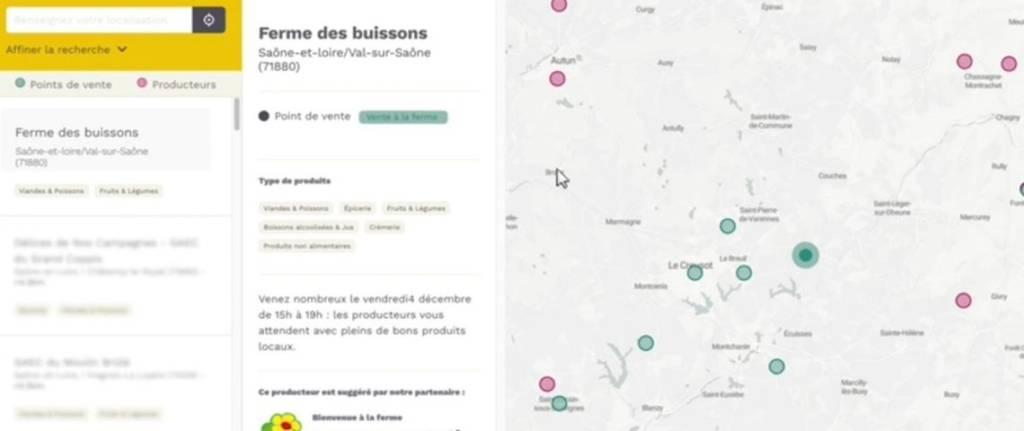 """Capture d'écran de la plateforme """"fraisetlocal.fr"""""""