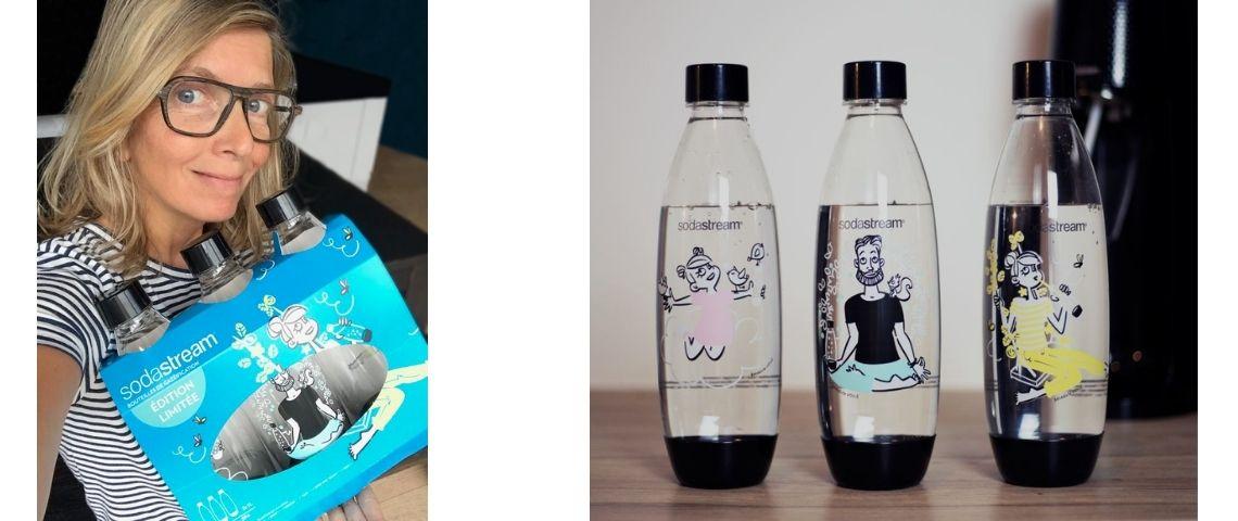 Benedicte Voile et les 3 bouteilles Sodastream