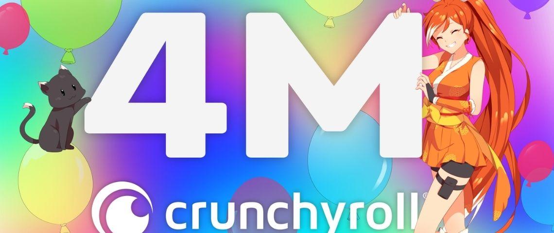 Logo Crunchyroll, avec leur nombre d'abonnées : 4 millions