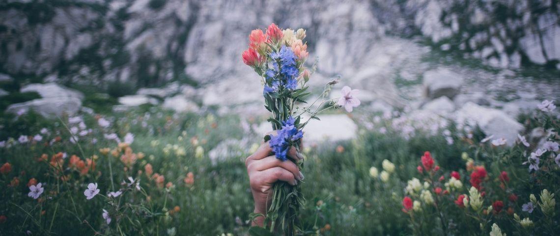 Une main tenant un bouquet de fleurs