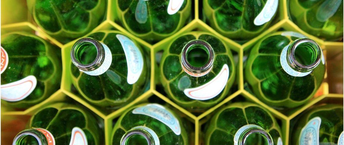 Bouteilles, vert, verre
