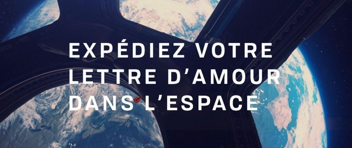 Planète en arrière plan avec la mention : Expédiez votre lettre d'amour dans l'espace