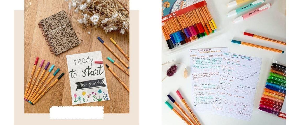 Visuels de la campagne BeInfluence x Stabilo mettant en scène les crayons de la marque