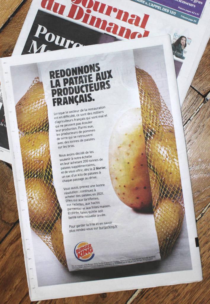 Communication de Burger King dan le JDD : Redonnons la patate aux producteurs français