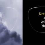 Verre de lunette dans lequel on voit se dessiner un cheval dans les nuages