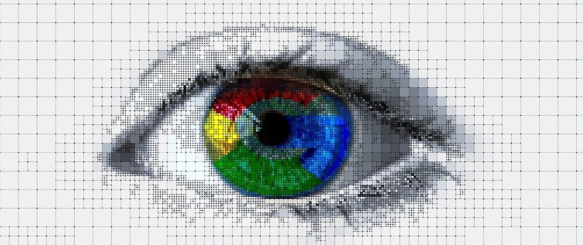 Oeil avec une rétine aux couleurs de Google