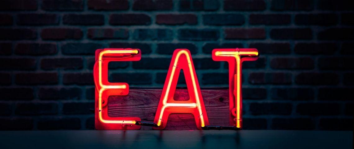 Eat en lettres lumineuses