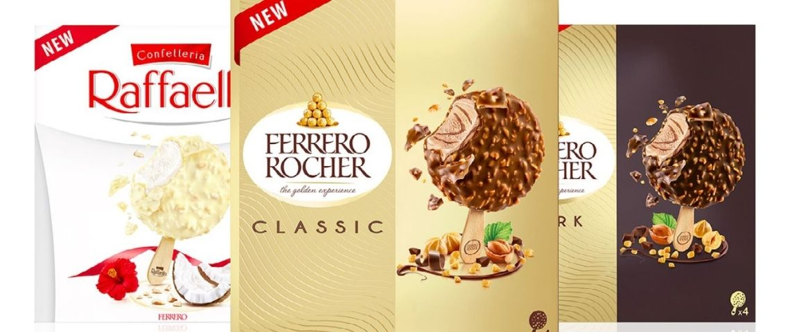 Visuels des packagings des glaces Ferrero
